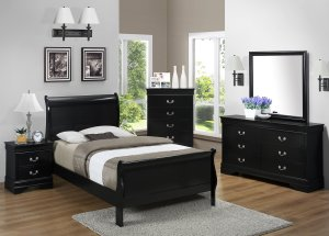 B3900 Black Louis Philippe Twin Bed